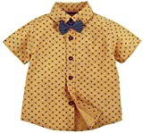 Cycle Print Half Sleeve Shirt With Bow - Yellow (6-12 M)