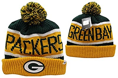 NFL Green Bay Packers '47 Calgary Cuff Knit Beanie with Pom, Dark Green/Yellow, One Size