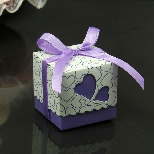 Purple and white candy wedding favor Box