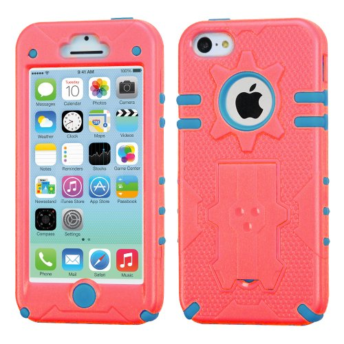 Iphone 5C Natural Phantom Hybrid Protector Cover - Lifetime Warranty (Baby Red/Tropical Teal) front-531166