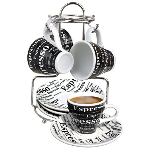 Bene Casa 43888 Espresso Set with Iron Stand, 9 Piece (Expresso Cups With Stand compare prices)