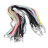 20 Pcs Mix Color Spinning Craft Organza Silk Ribbon Necklaces Cord Lobster Clasp
