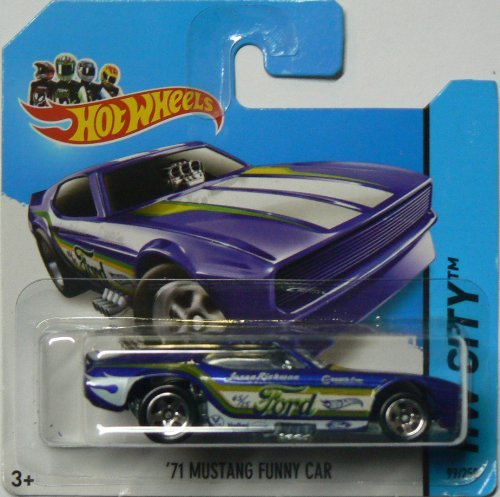 Hot Wheels 2014 Hw City Blue '71 Ford Mustang Funny Car 99/250 on Short Card by Hot Wheels