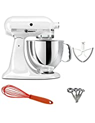 KitchenAid Artisan KSM150 Stand Mixer (White) + Beater Blade + Kamenstein Mini Measuring Spoons Spice Set + Silicone Whisk by KitchenAid