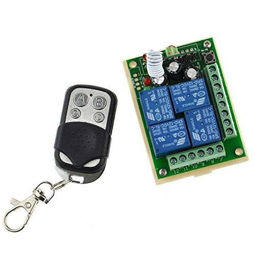 DC 12V Gate Garage 4 Channel Wireless Remote Control Receiver Momentary Switch (4 Ch Wireless compare prices)