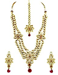 Long Kundan Necklace Set With Ruby Stones In Floral Design