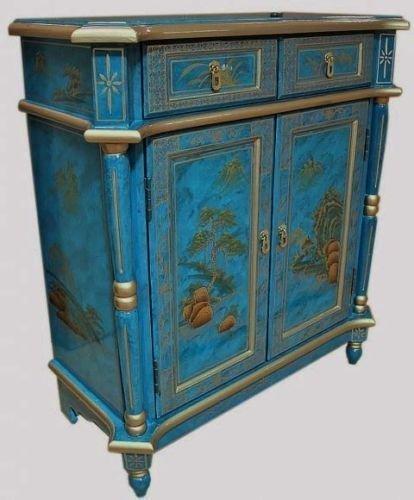 Azul Motas Lacado Pintado A Mano Arte Armario Oriental Muebles China