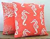 Two coral nautical pillow covers, cushion, decorative throw pillow, decorative pillow, accent pillow, pillow case, 20x20