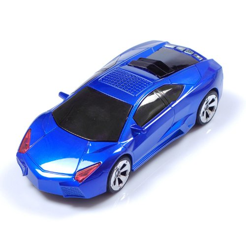 Mini Speaker Mni Mp3 Player Lamborghini Car Model Speaker With Lcd Display Screen Support Tf Card Usb In Blue