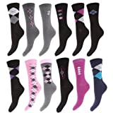 Clearance: Womens Premium Quality Combed Cotton Casual Argyle & Stripe Socks (Pack Of 12)