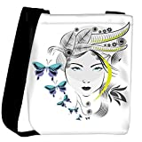 Snoogg abstract woman with elegant hair style and blue butterflies Womens Carry Around Cross Body Tote Handbag Sling Bags