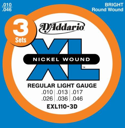D'Addario EXL110-3D Electric Guitar Strings, Regular Light, 10-46, 3 Sets