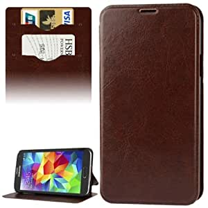 Crazy4Gadget Crazy Horse Texture Leather Case with Credit Card Slot & Holder for Samsung Galaxy S5 / G900 (Brown)