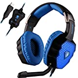 SADES A70 7.1 Virtual Surround Sound Stereo USB Gaming Headset Over-Ear with Microphone Volume Control Breathing LED Lights for PC Gamers(Black)