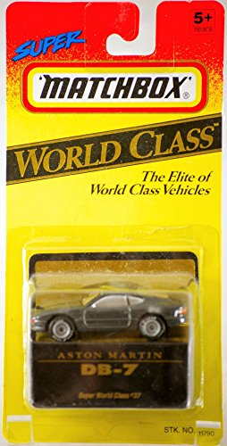 1993 - Tyco Toys Inc - Super Matchbox - World Class Series #37 - Aston Martin DB-7 / Metallic Gray - 1:64 Scale Die Cast Metal - MOC - Out of Production - Limited Edition - Collectible - 1