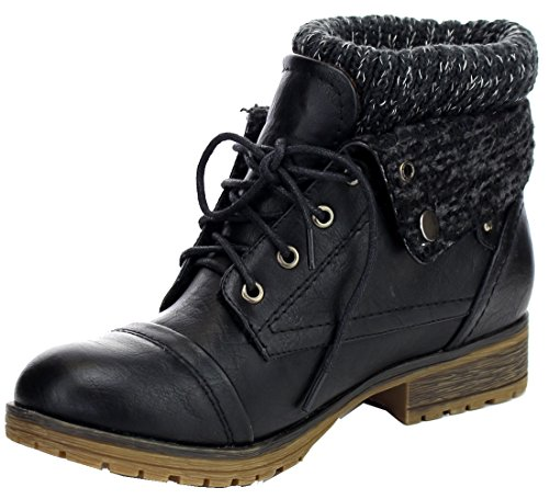 REFRESH WYNNE-01 Women's combat style lace up ankle bootie,8 B(M) US,Black (Cute Shoes For Women compare prices)