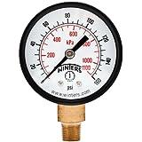 "Winters PEM Series Steel Dual Scale Economical All Purpose Pressure Gauge with Brass Internals, 0-160 psi/kpa, 2"" Dial Display, +/-3-2-3% Accuracy, 1/8"" NPT Bottom Mount"