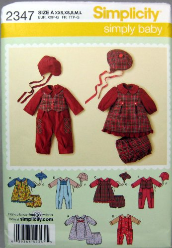 Simplicity Sewing Pattern 2347 Babies' Romper And Dresses, A (Xxs-Xs-S-M-L)