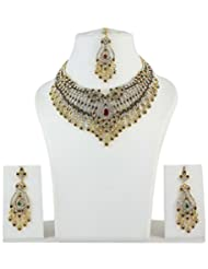 Gorgeous Indian Choker Style Red-Green Stone Fashion Neckace Jewelry Set