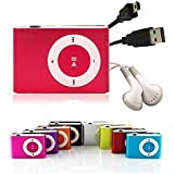 Angelo Caro Mini Fashoin Clip Metal USB MP3 Music Media Player Support 1 - 8GB Micro SD TF-Red