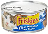 Friskies Cat Food Classic Pate, Ocean Whitefish & Tuna Dinner, 5.5-Ounce Cans (Pack of 24)