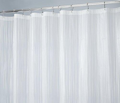 mDesign Doodle Stripe Rivestimento Tenda Doccia Decorativo PEVA 3G, SENZA PVC, ANTIMUFFA, SENZA ODORI, Nessun Odore Chimico - 180 x 180 cm, Bianco