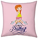 Valentine Gifts for Boyfriend Girlfriend Love Printed Cushion 12X12 Filled Pillow Pink Happy Girls are Prettiest Gift for Her Fiance Spouse Wife Friend Birthday Everyday Gift