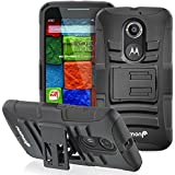 Fosmon® Motorola Moto X (2nd Gen, 2014) Case (STURDY) Heavy Duty Hybrid Shell Case and Holster with Kick Stand for Motorola Moto X (2nd Gen, 2014) - Fosmon Retail Packaging (Black)