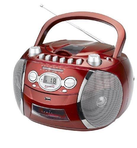 Supersonic SC-712USB Portable CD/MP3/USB Radio Cassette Recorder 110V/220V Color RED
