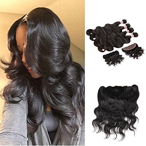 HC Hair Best Quality Brazilian Virgin Hair Extension Unprocessed Brazilian Body Wave Human Hair Weave 4 Bundles with 1 Piece Free Part Lace Frontal Closure(13×4) Natural Color (12 14 16 18 with (How Many Days Is Standard Shipping)