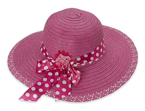 Debra Weitzner Women's Straw Floppy Beach Sun Hat Summer Polka-Dots Trim (Pink Pork Pie Hat compare prices)