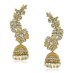 Meenaz Ear Cuffs Golden Kundan Moti Pearl Earrings For Women - T381