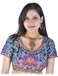 Exotic India Cutwork Bollywood Choli With Metallic Thread Embroidered Flowers - Color Blue And RedGarment Size...