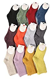 Lian LifeStyle Boy\'s 10 Pairs Pack Cashmere Wool Crew Socks Solid Size 12-15CM/1Y-2Y