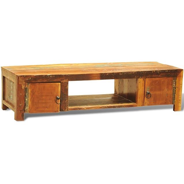 Festnight Armadietto in legno anticato per TV con 2 porte stile antico Vintage