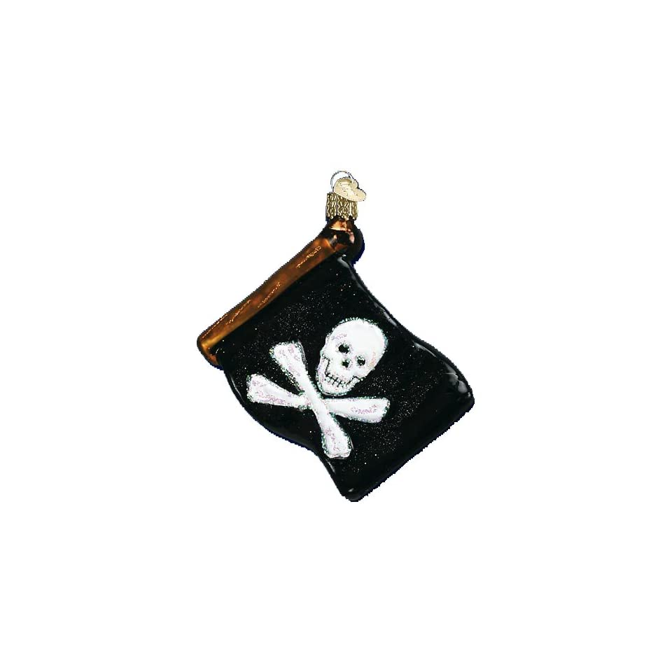 Old World Christmas Jolly Roger Pirate Flag Glass Ornament