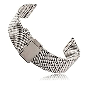 Threemart Stainless Steel Watch Band Strap for Pebble Time / Pebble Time Steel Smart Watch (A Milanese Silver)