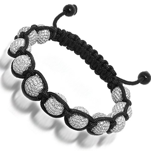 14K White Gold Ball Bead Mens Diamond Bracelet
