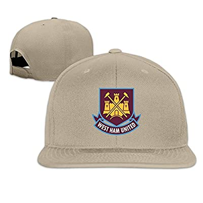 Adult Unisex West Ham United Logo Organic Cotton Flat Snapback Baseball Caps Printed Natural Adjustable Caps One Size Fits Most