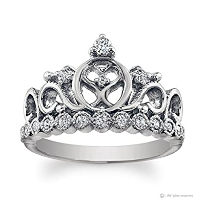 14K White Gold Princess Heart Crown CZ Ring