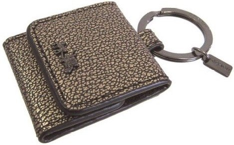 Coach Picture Frame Key Ring Metallic Leather