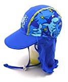 子供用 日よけ帽子 スイムキャップ 水泳帽 日よけ布 つば付 UVカット ( ブルー L )