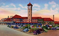 Portland, Oregon, Union Station, ca. 1935 - Fine-Art-Quality Photographic Print - 8x10-inch Enlargement from a Classic Vintage Postcard