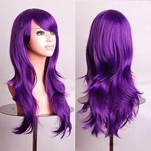 "Outop 28"" Long Heat Resistant Purple Big Wavy Cosplay Wig"