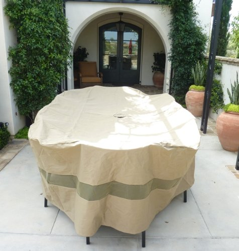 "Formosa Covers Oval Patio Set Cover 130""Lx86""W Fits Rectangular or Oval Table Set with chair in the end, Center hole for Umbrella at Sears.com"