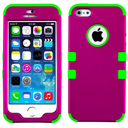 Mylife (Tm) Bright Green And Magenta - Colorful Robot Series (Neo Hypergrip Flex Gel) 3 Piece Case For Iphone 5/5S (5G) 5Th Generation Itouch Smartphone By Apple (External 2 Piece Fitted On Hard Rubberized Plates + Internal Soft Silicone Easy Grip Bumper