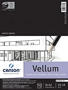 Canson Vidalon Tracing Vellum 9 in. x 12 in. pad of 50 sheets