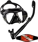 Cressi Matrix Mask with Dry Snorkel Set Combo, All Black