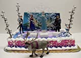 Elsa and Anna Frozen Winter Themed 17 Piece Birthday Cake Topper Set - Set Includes All Accessories Shown - Ice Cyrstals, Snow Flake, Trees, and Backdrop along with Cake Topper Figures of Anna, Elsa, Hans, Kristoff, Sven & Olaf