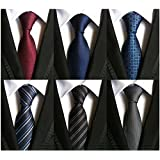 WeiShang Lot 6 PCS Classic Men's 100% Silk Tie Necktie Woven JACQUARD Neck Ties (Style 14)